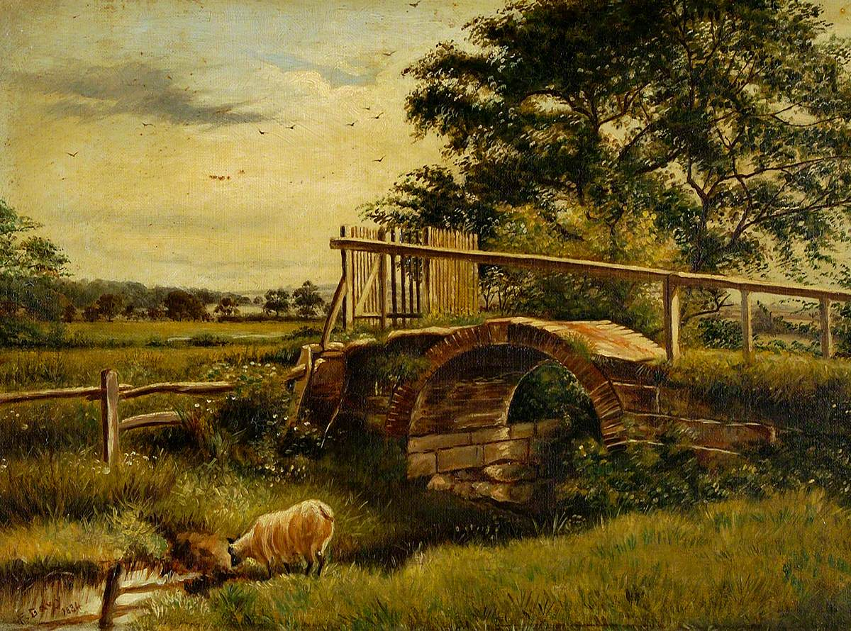Landscape with Sheep and a Bridge