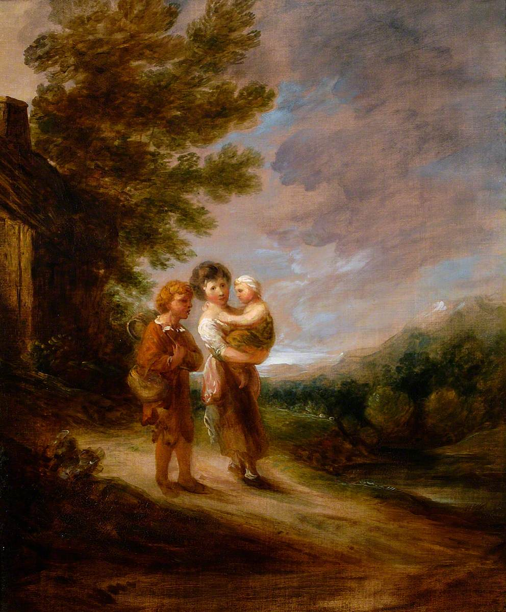 Landscape with Peasant Children outside a Cottage
