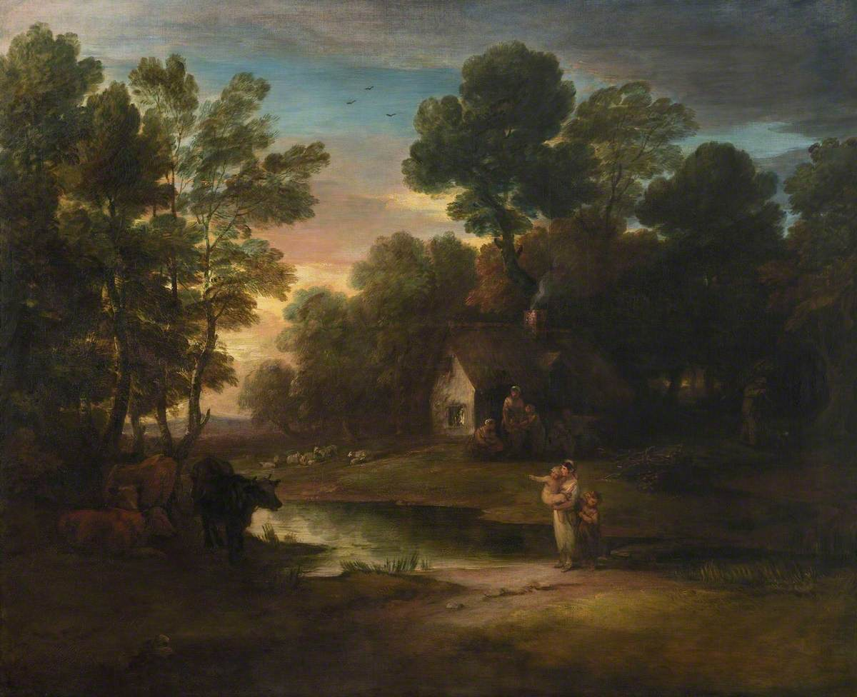Wooded Landscape with Cattle by a Pool