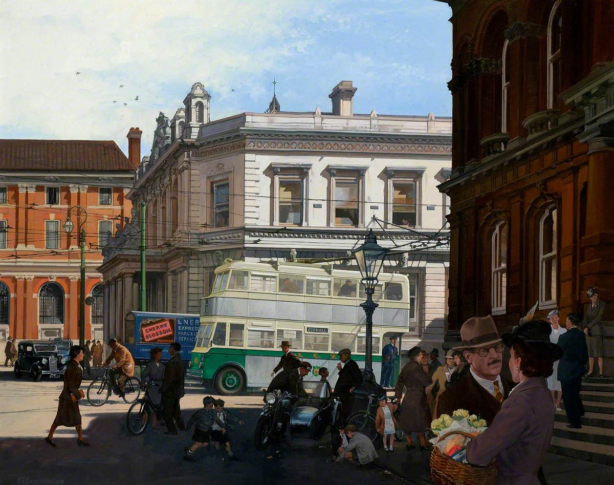 Trolleybus 46 at the Cornhill, Ipswich, in 1935