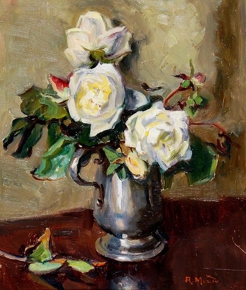 White Roses in a Pewter Mug