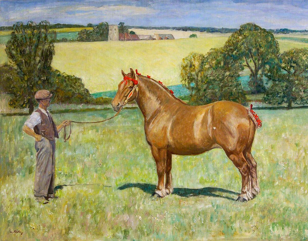 Joe Stearn with the Mare Rowhedge Myrtle, with Alpheton Church in the Background