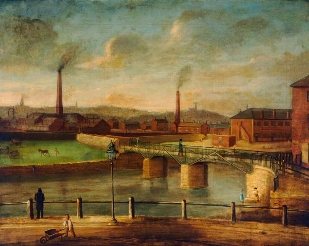 Bridge and White Rails at Bridgehouses, Sheffield