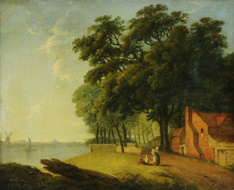 River Scene with a Cottage