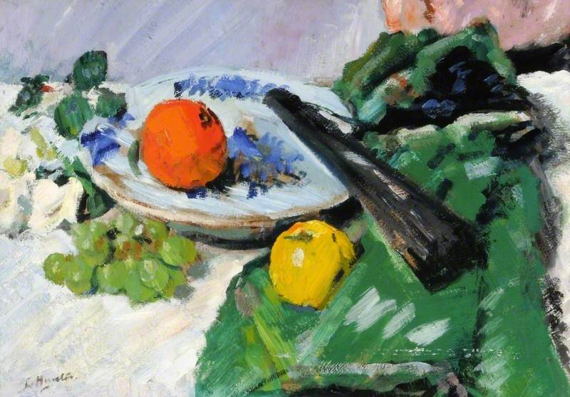 Still Life with Fruit and a Black Fan