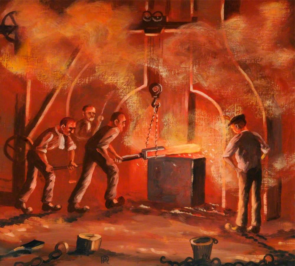 Forging Steel under a Steam Hammer, 1930