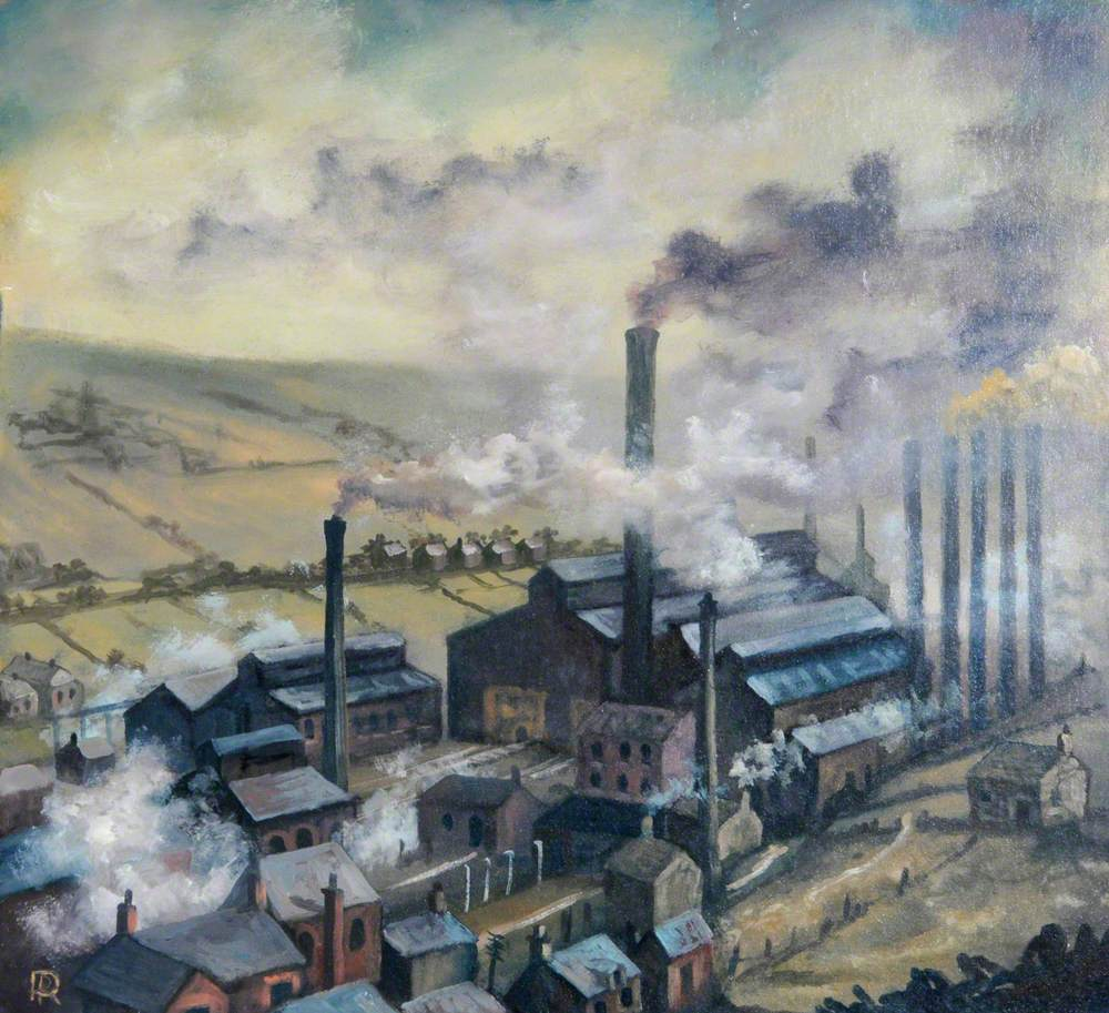 Industrial Buildings with Chimneys and Smoke, Surrounded by Houses and Fields