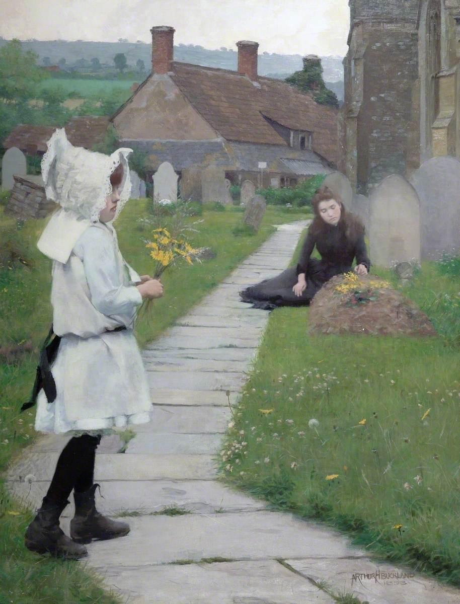 Children in Stoke St Gregory Churchyard