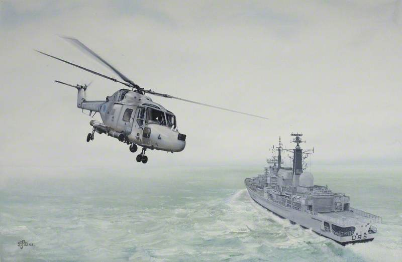 Lynx HAS3 Helicopter over HMS 'Manchester' D95