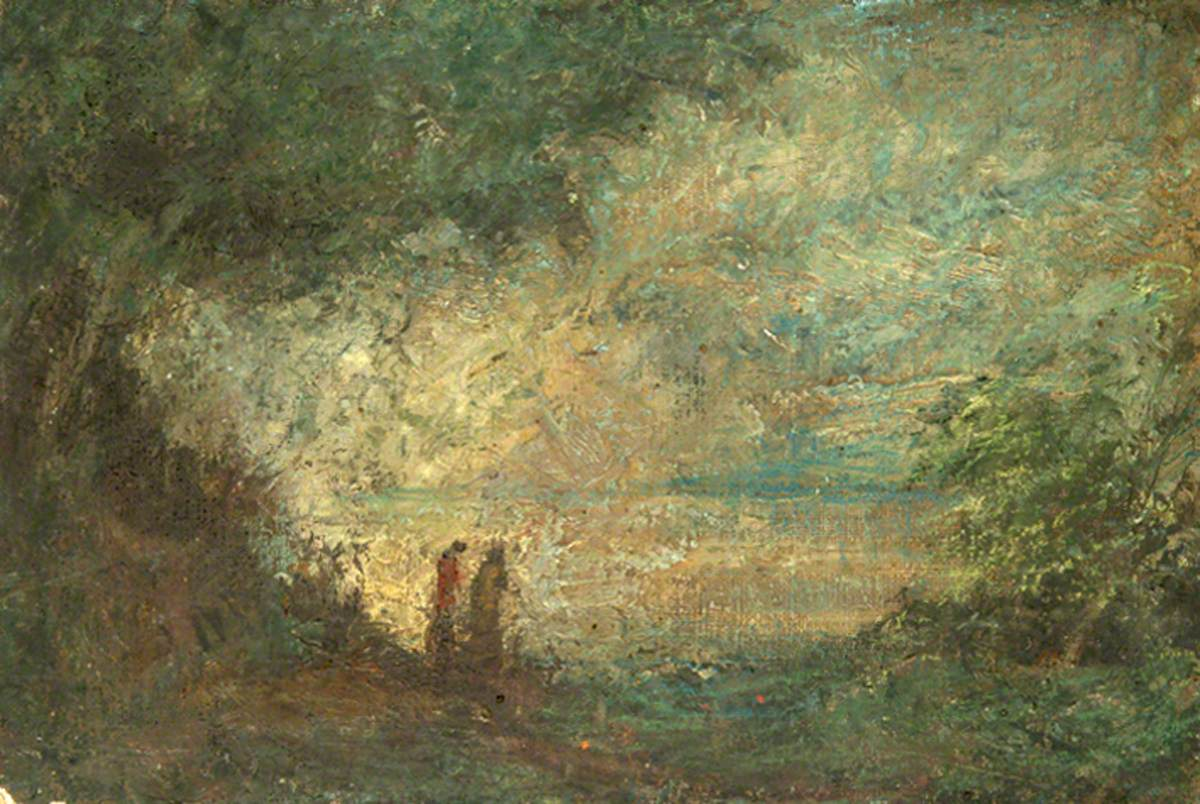 Two Figures by Lake