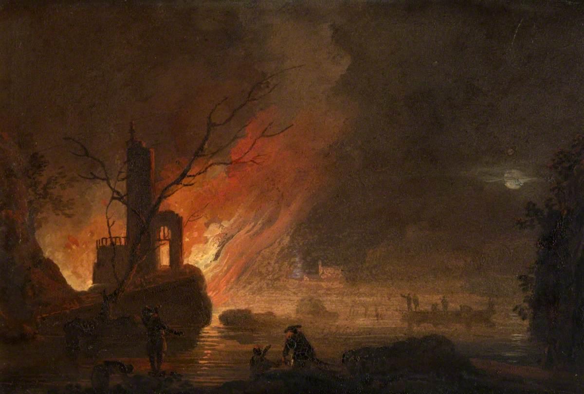 A Coast Fire at Night