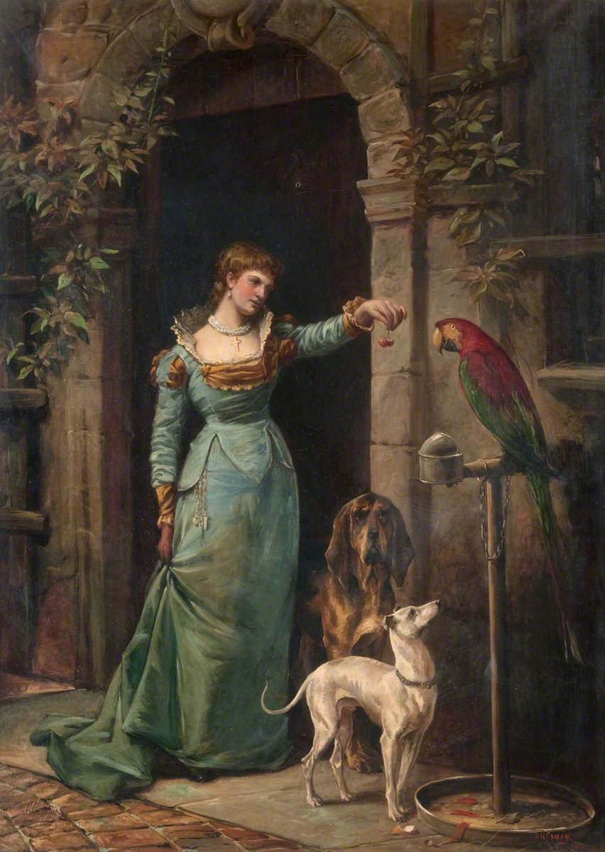 A Woman with a Parrot and Two Dogs*