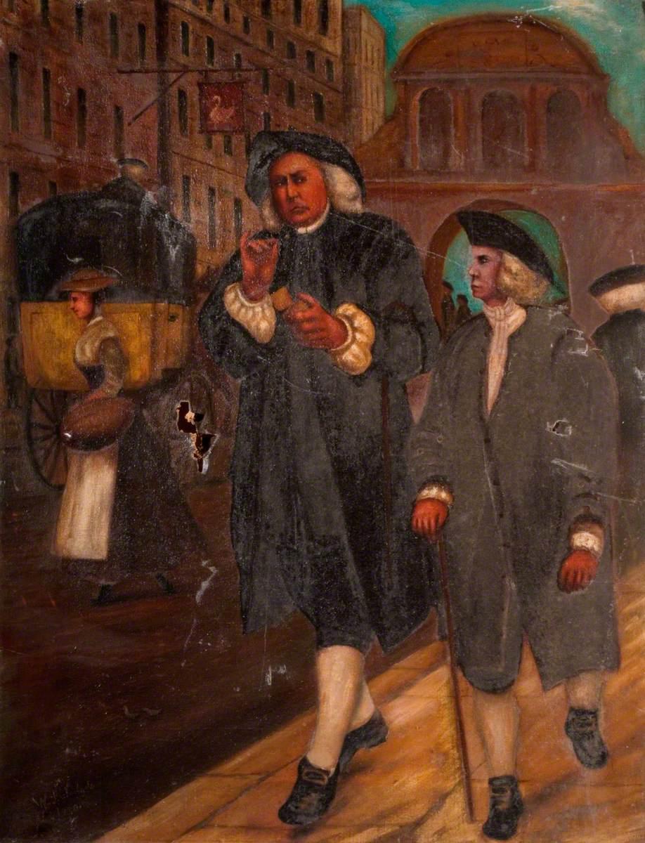 Johnson and Oliver Goldsmith Walking down Fleet Street, London