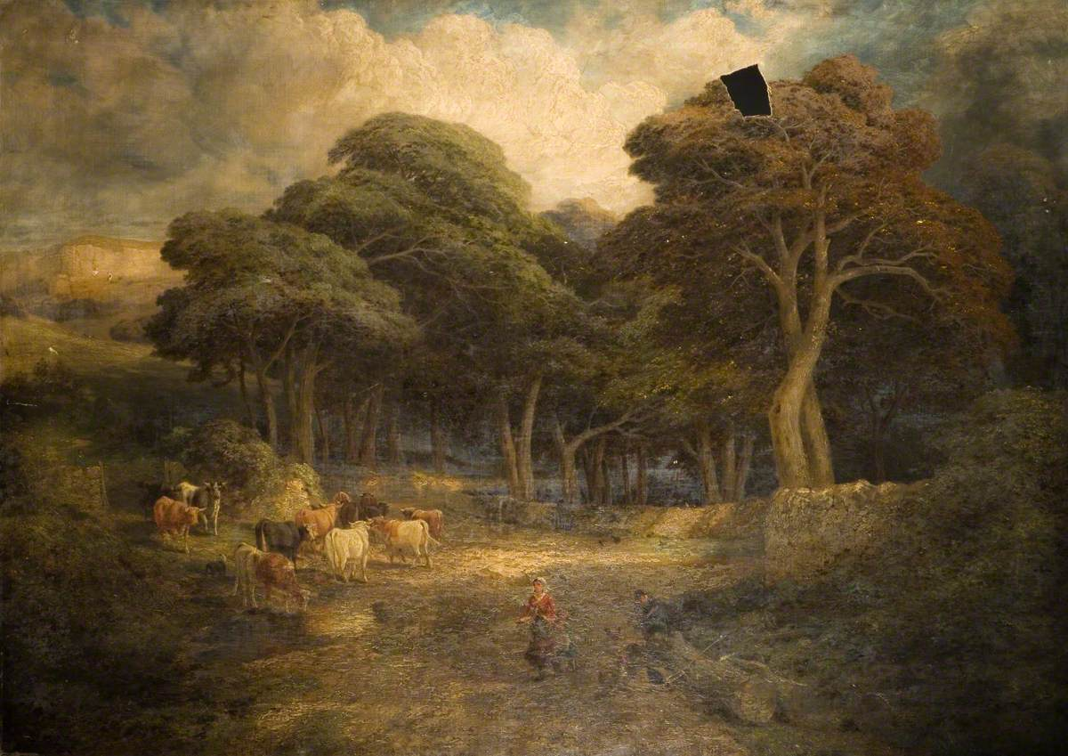Landscape with Cattle and Women Feeding Hens
