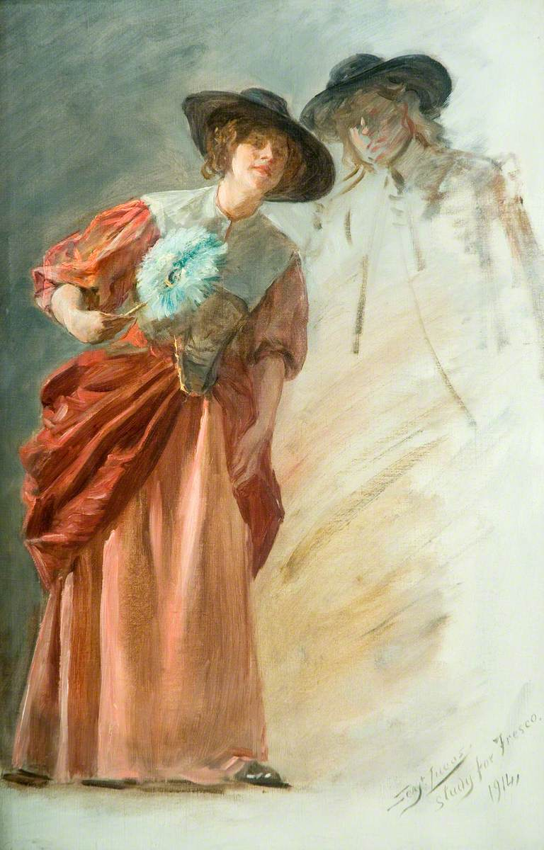 A Woman with a Fan, Head of a Man