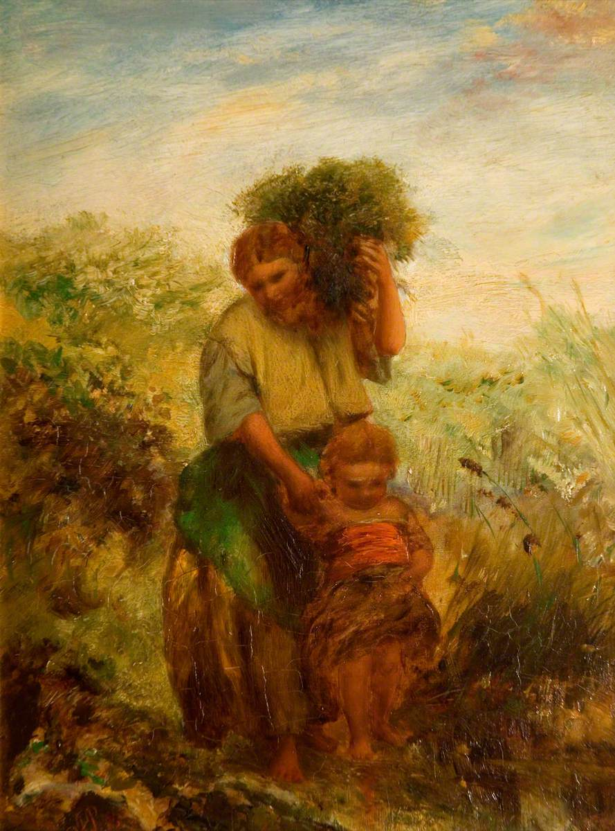 The Gorse Gatherer, Child Crossing Mountain Stream