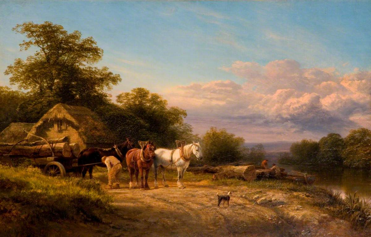 Horses with Timber Wagon