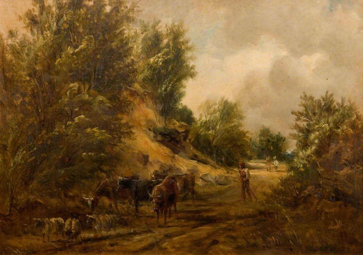 A Man Driving Cattle and Sheep