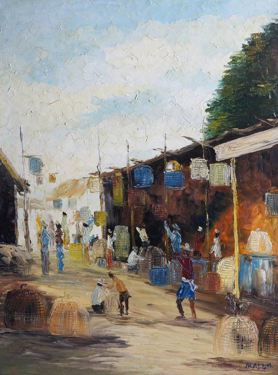 Far Eastern/African Market with Cages