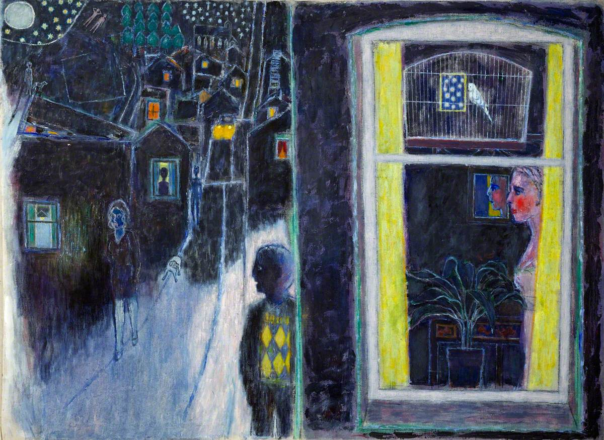 Night Scene with Woman and Budgie in Window