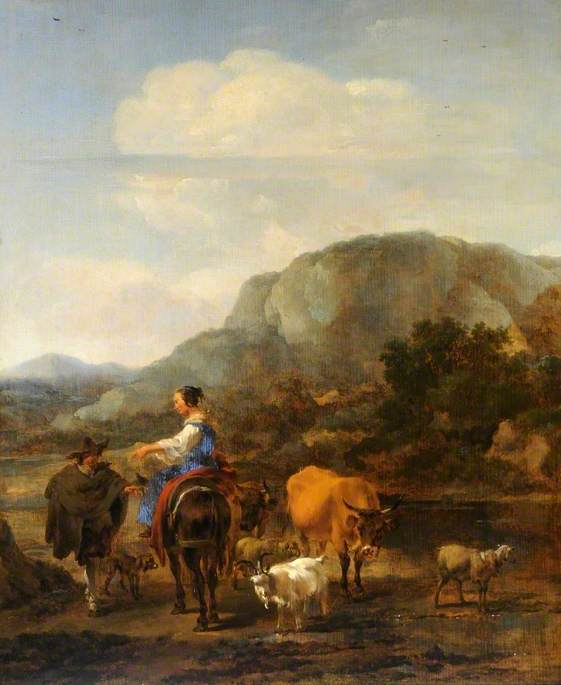 Italianate Landscape with Peasants Fording a Brook