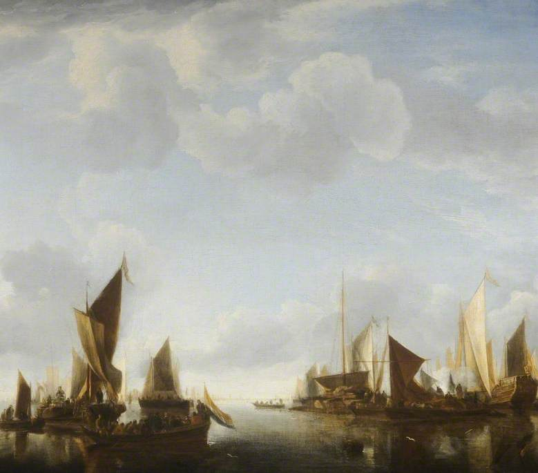 River Scene with Ships Becalmed