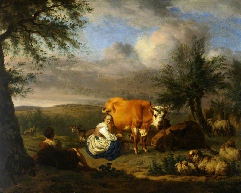 Landscape: Woman Milking a Cow
