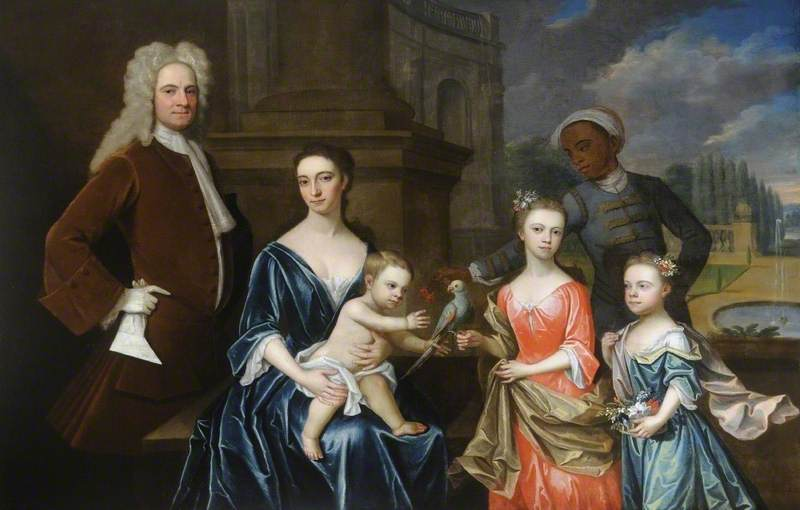 Philip Stanhope (1673–1726), 3rd Earl of Chesterfield, with His Wife, Lady Elizabeth Savile, Children and Nubian Slave