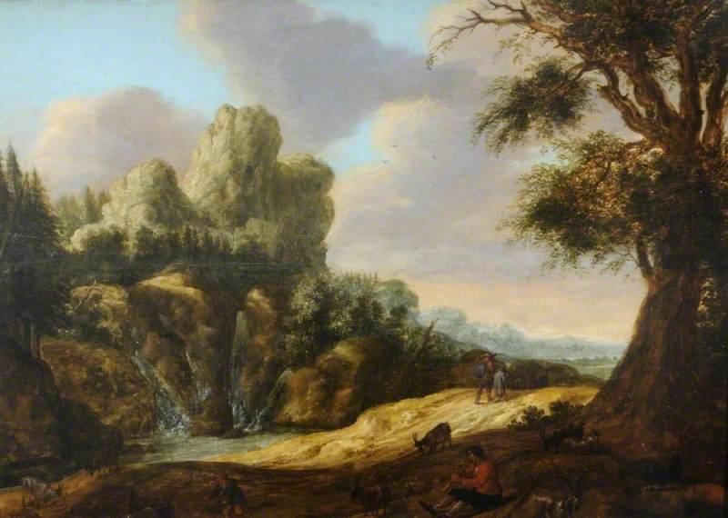 A Mountainous Landscape with Goats
