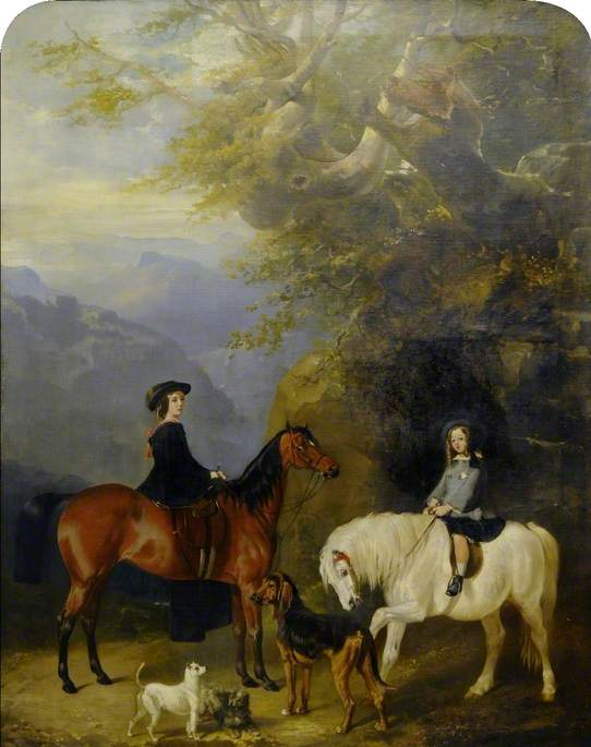 A Woman and a Girl Riding in a Mountainous Landscape