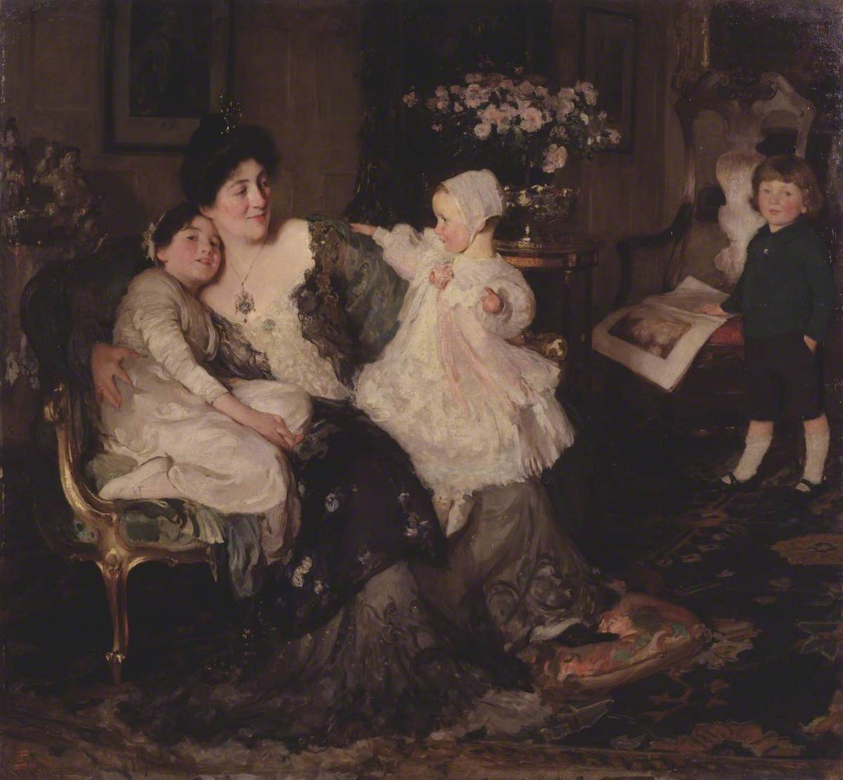 A Family Group: The Artist's Wife and Children: 'Papa Painting!'