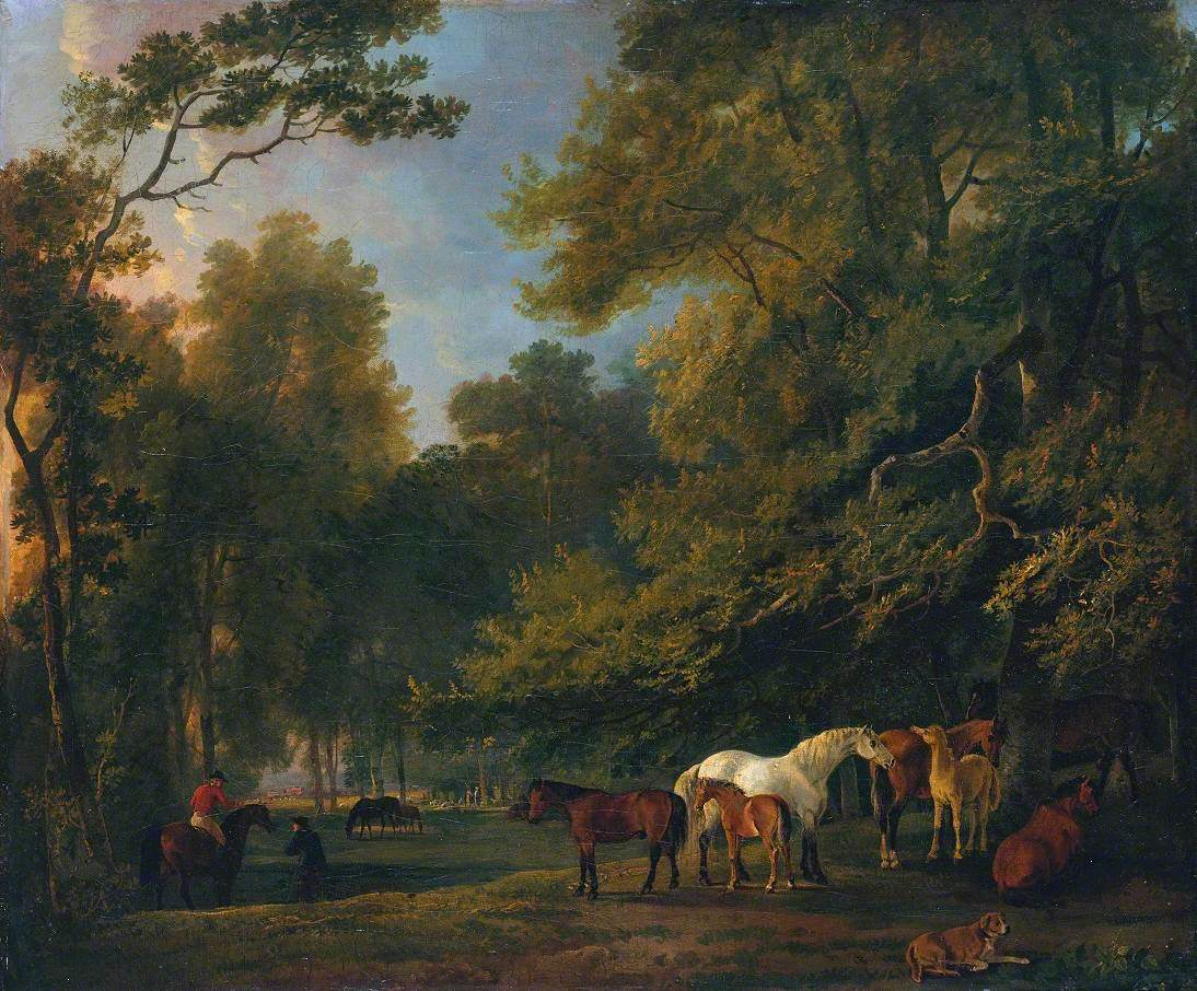 Broodmares and Colts in a Landscape