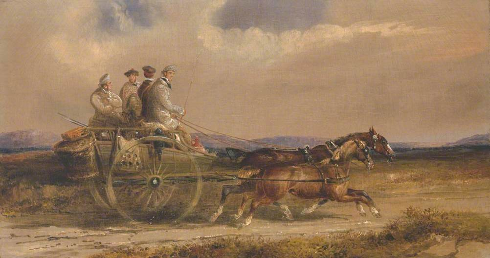 Sportsmen in Scottish Dress Driving to the Moors