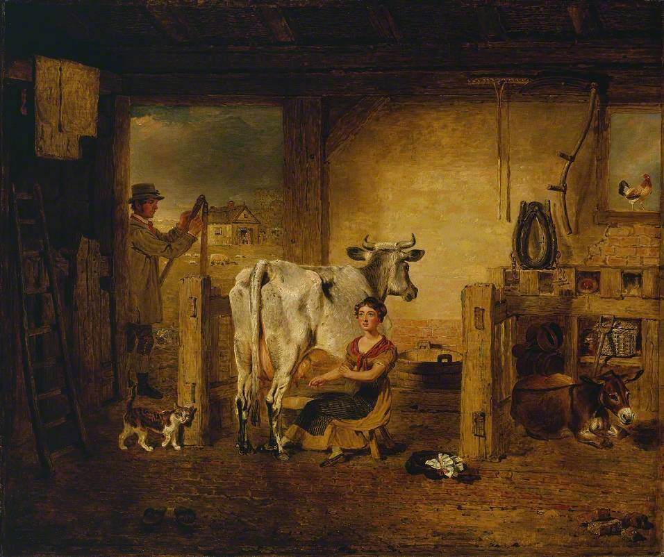 Interior of a Barn with a Milkmaid and Farm Labourer