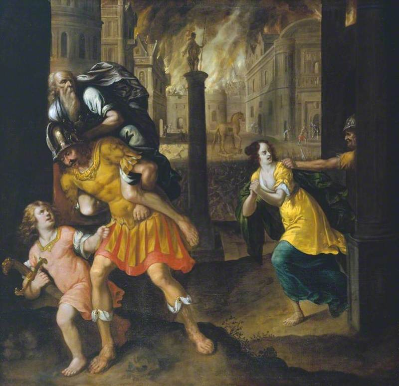 Aeneas and his Family Fleeing Burning Troy