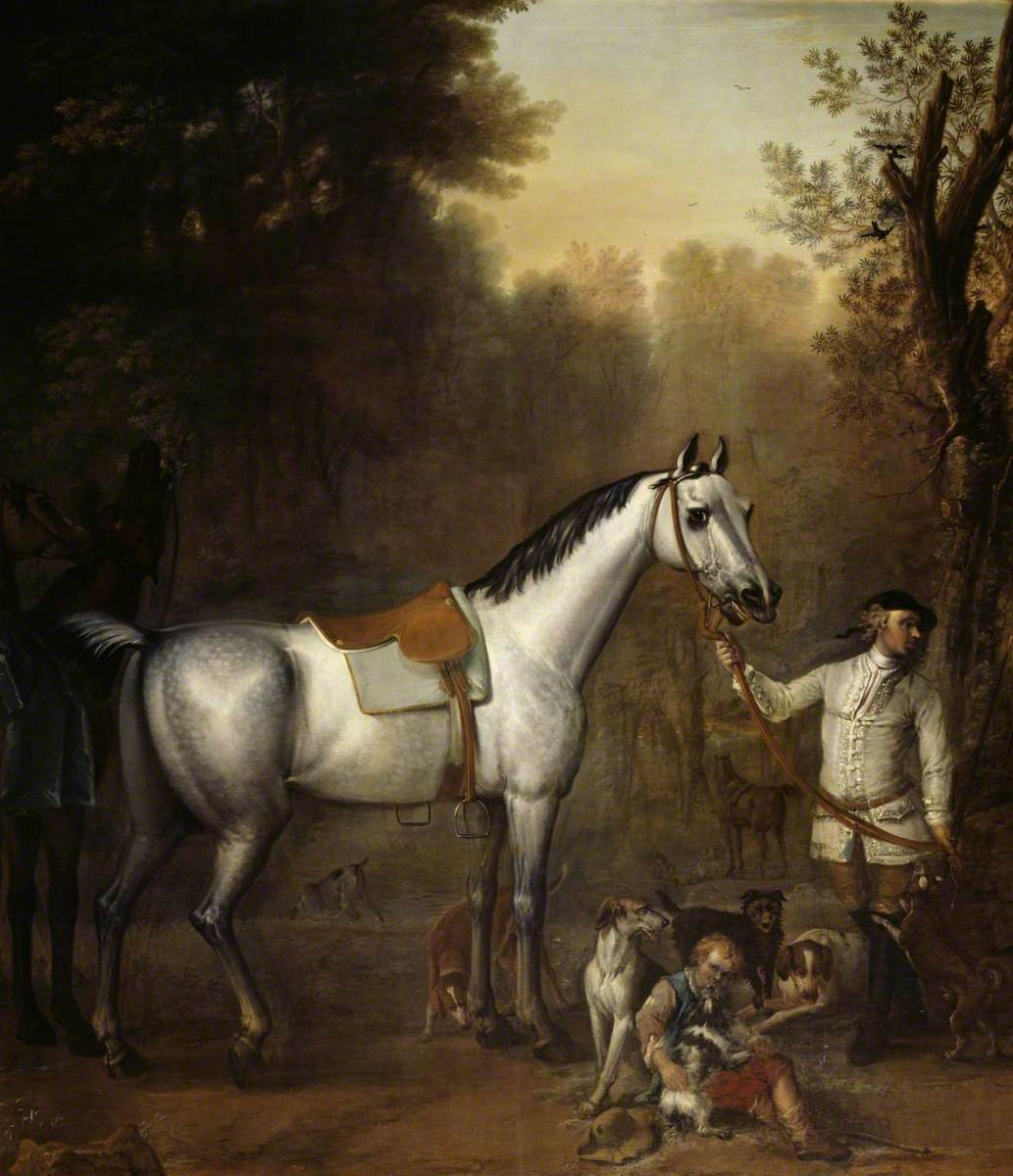 Viscount Weymouth's Hunt: A Groom holding a Saddled Grey Hunter with Hounds and Terriers