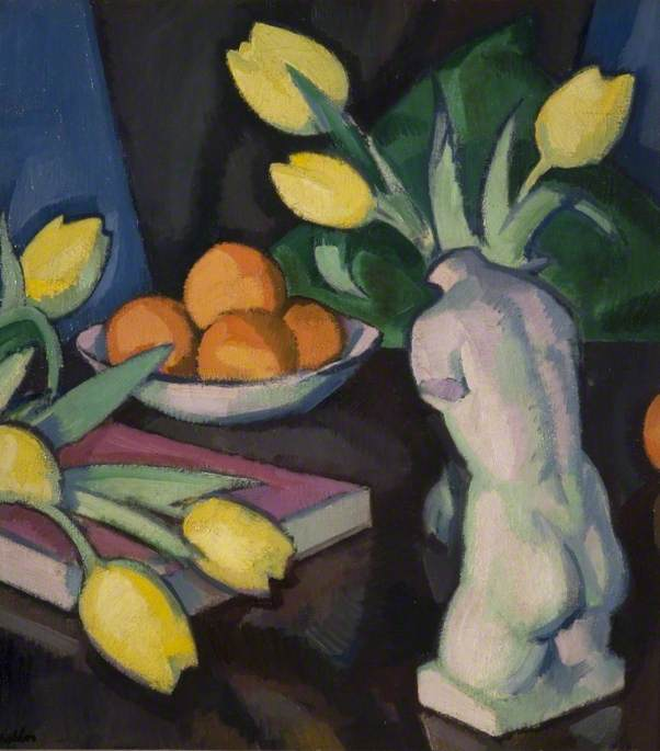 Yellow Tulips and Statuette