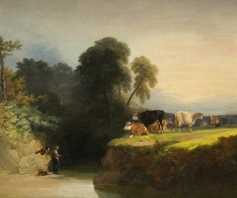 Cows on the Banks of a Stream