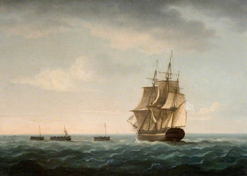 Rescue of the 'Guardian's' Crew by a French Merchant Ship, 2 January 1790