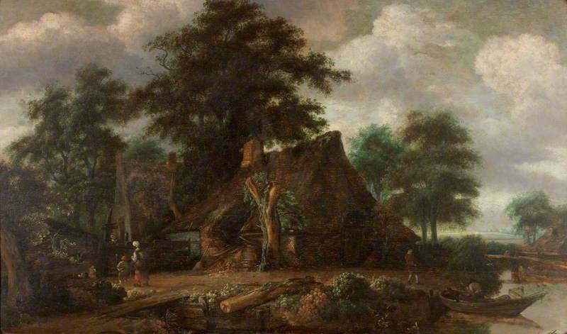 Landscape with Cottages by the Water's Edge