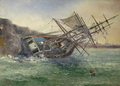 Wreck of the Norwegian Barque 'Jernaes' of Risør, on Hendon Beach, 21 October 1894
