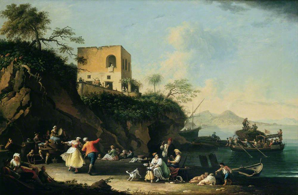 Peasants Merrymaking on the Shore at Posillipo, Italy