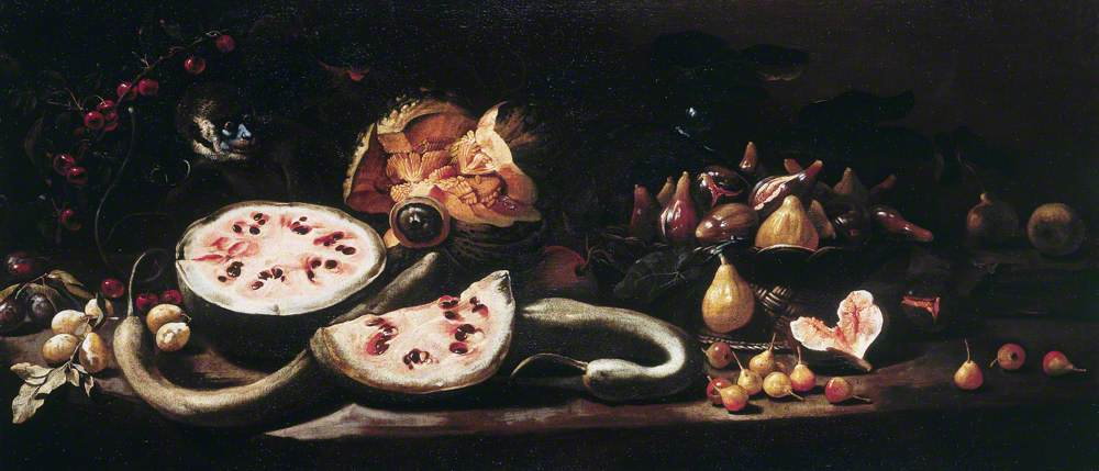 Still Life with Watermelons, Plums, Cherries, a Basket of Figs, Pears and a Monkey