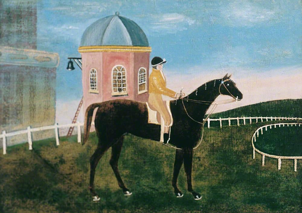 A Jockey on a Bay Racehorse