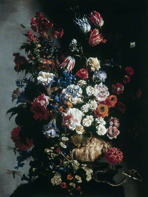 Still Life of Flowers in an Urn, Butterflies and a Snake