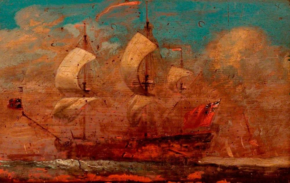 A Three-Masted Ship at Sea