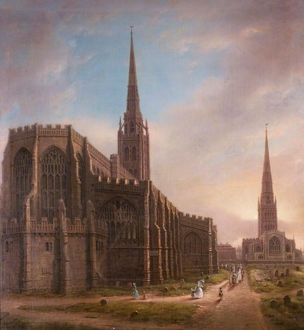 St Michael's and Holy Trinity Churches from the North East, Coventry