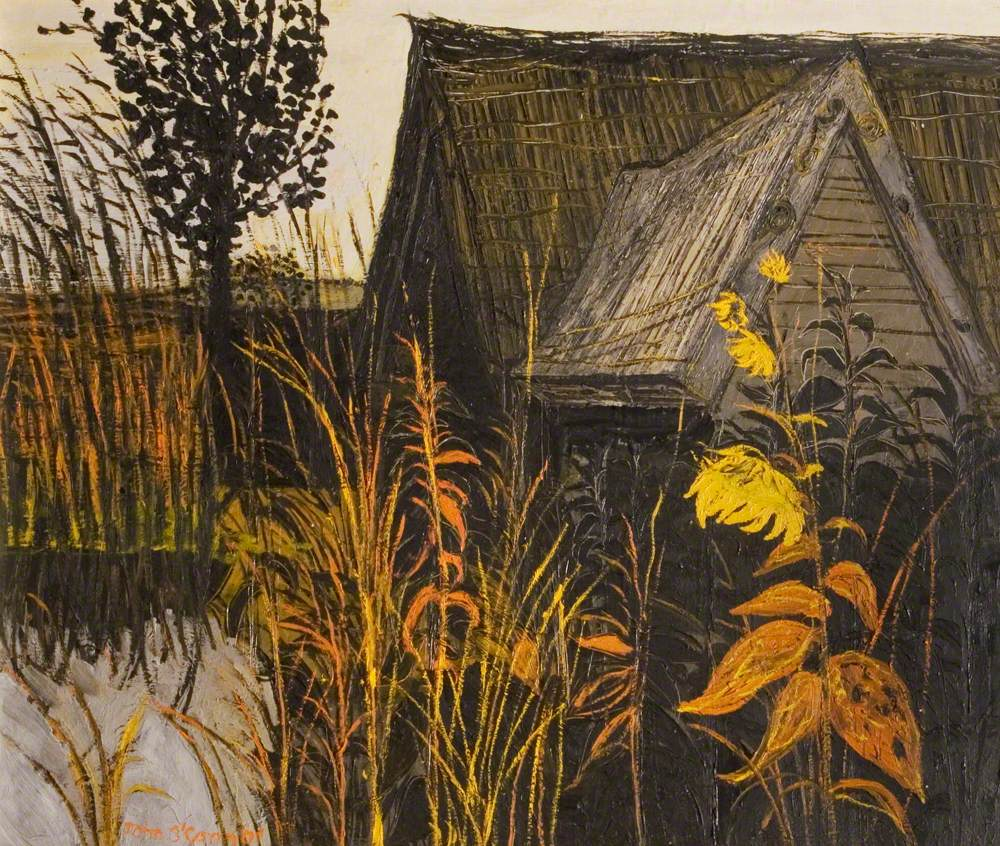 Thatched Barn and Sunflower