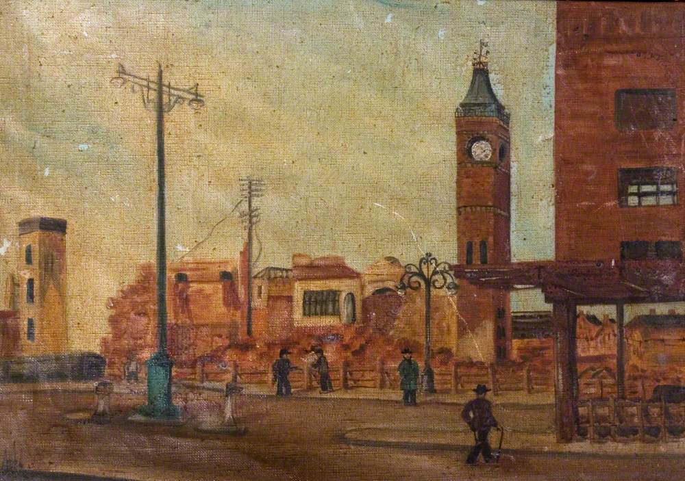 Street Scene with Ruined Market Tower, Coventry