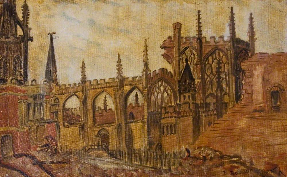 Bayley Lane and the Ruined East End of St Michael's, Coventry